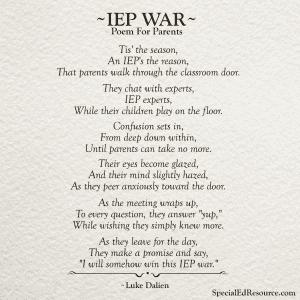 IEP War No Caption | A Poem For Parents