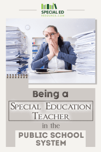 A special education teacher sitting at her desk with the piles of IEPs and student's paperwork surrounding her with overwhelm.