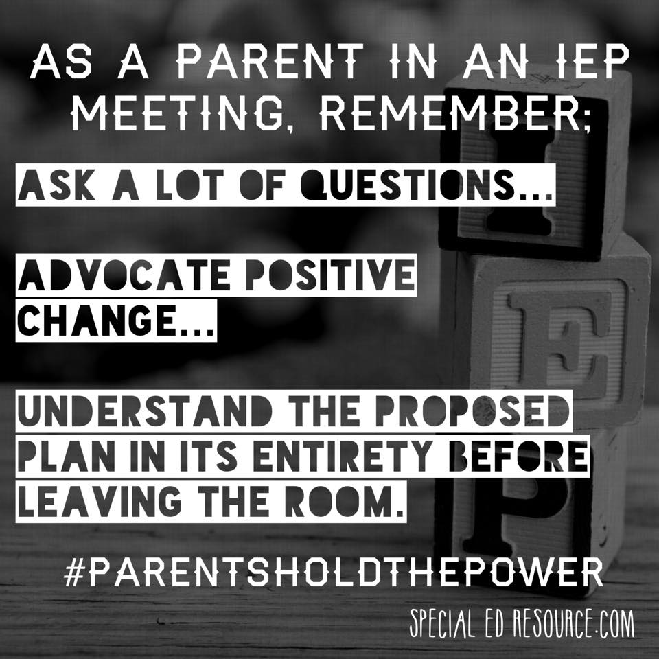 Parents Have The Power In An IEP | Special Education Resource