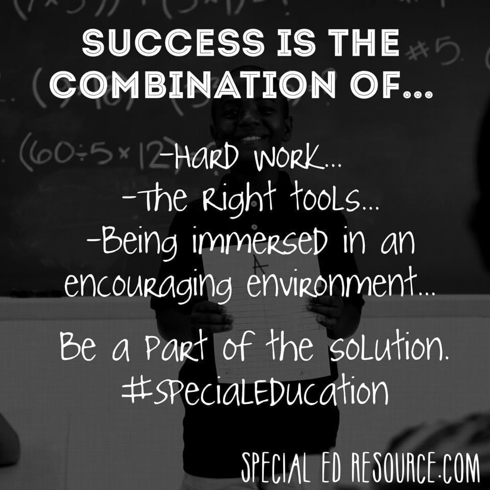Success Is A Combination | Special Education Resource