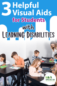 Classroom of students where the teacher is providing helpful literacy visual aids for students with learning disabilities.