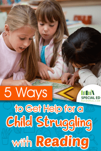 3 young girls at school with a book one is a child struggling with reading