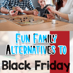 Mom, dad, and daughter are playing a board game as one of many family alternatives to Black Friday shopping.
