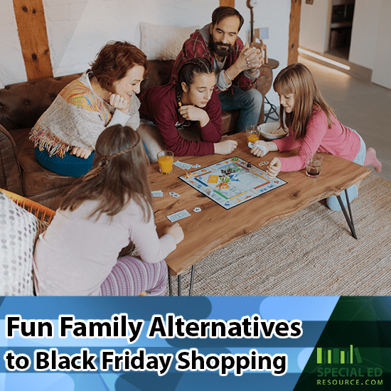 Family playing a board game together as a family alternative to black Friday shopping.