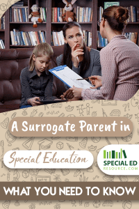 A woman speaking with a surrogate parent in special education appointed to a young female student on how to help advocate for her.