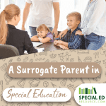 A school administrator is speaking with a surrogate parent in special education, her spouse, and two young children in her office about how to better help advocate for a student's education.