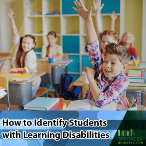 Students sitting in their seats in the classroom with their hands raised while the teacher is thinking How to Identify Students with Learning Disabilities.