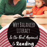 A teacher putting into practice why balanced literacy is the best approach to reading with a young female student in the classroom.