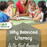 A teacher putting into practice why balanced literacy is the best approach to reading with a group of young students in the classroom.
