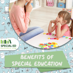 A young girl working with a therapist on learning strategies one of the many benefits of special education related services outside of school.