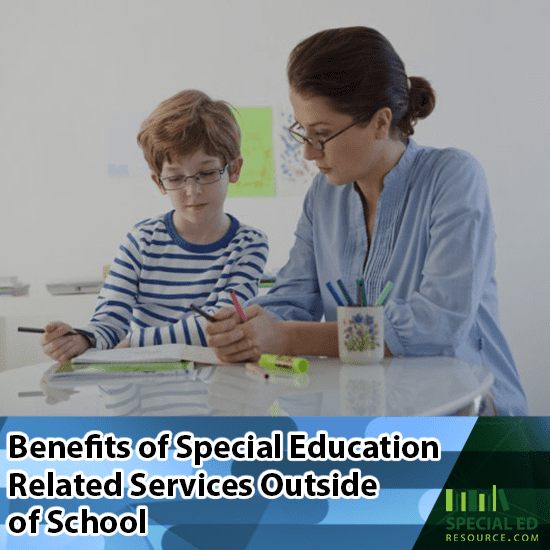 A boy working with a therapist on learning strategies one of the many benefits of special education related services outside of school.
