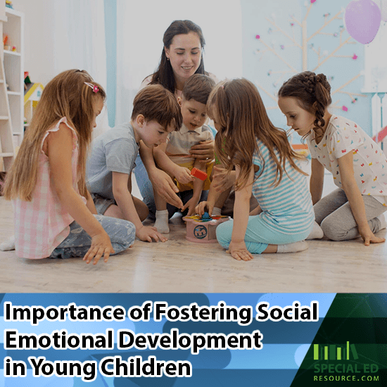 Mom having a group of children sitting on the floor of a bedroom playing together because of the Importance of Fostering Social Emotional Development in Young Children.