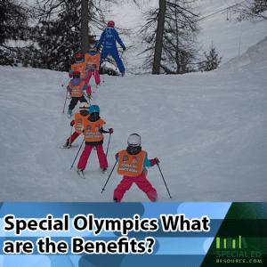 Children participating in a Special Olympics skiing event.
