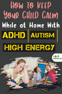 Mom sitting with head slumped down thinking about how to keep your child calm while at home with ADHD Autism High Energy because her son and daughter are driving her crazy.