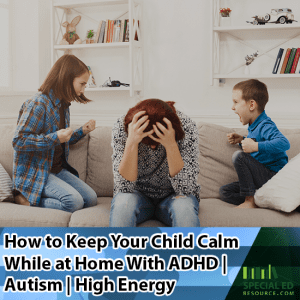 Mom sitting on the couch head slumped down in hands thinking about how to keep your child calm while at home with ADHD Autism High Energy while her son and daughter are on each side of her screaming.