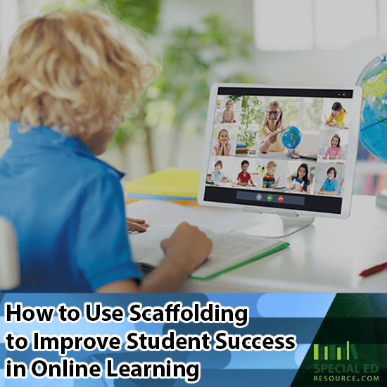 A young boy on a laptop at home with his teacher and classmates while his teacher is using scaffolding to improve student success in online learning.