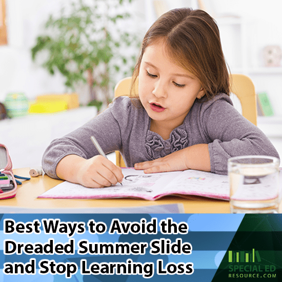 Child sitting at a table doing schoolwork her parents are trying to avoid the dreaded summer slide and stop learning loss over school break.