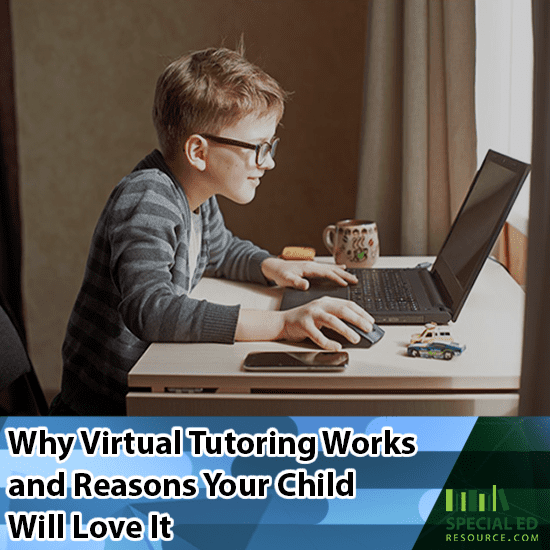 Young boy sitting in front of his computer at home doing virtual tutoring and loving it!