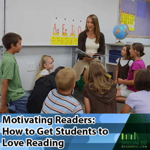 Teacher motivating readers in the front of her classroom sitting in a chair surrounded by her students on the carpet.