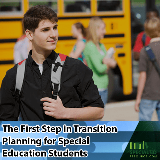 Young man with backpack standing in front of other high school students getting off a school bus from taking the first step in transition planning for special education students.