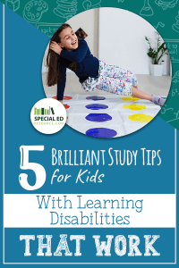 Young girl playing Twister at home as one of the brilliant study tips for kids with learning disabilities.