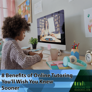 Young girl getting one on one attention from her tutor (one of the benefits of online tutoring) sitting at her computer at home during a virtual tutoring session.
