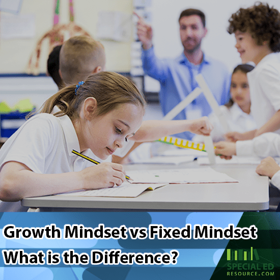 Children in a classroom at school the teacher can tell which students have a growth mindset vs fixed mindset.
