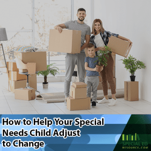 Family packing up for a move with a special needs child that will need help to adjust to change before going to a new school.
