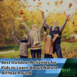Family exploring leaves on a fall day one of the best outdoor activities for kids to learn about nature all year round