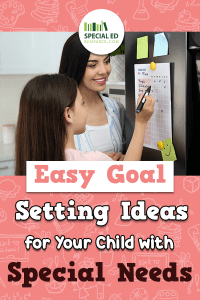 Mom and daughter looking at a goal checklist on the fridge they created from one of these Easy Goal Setting Ideas.
