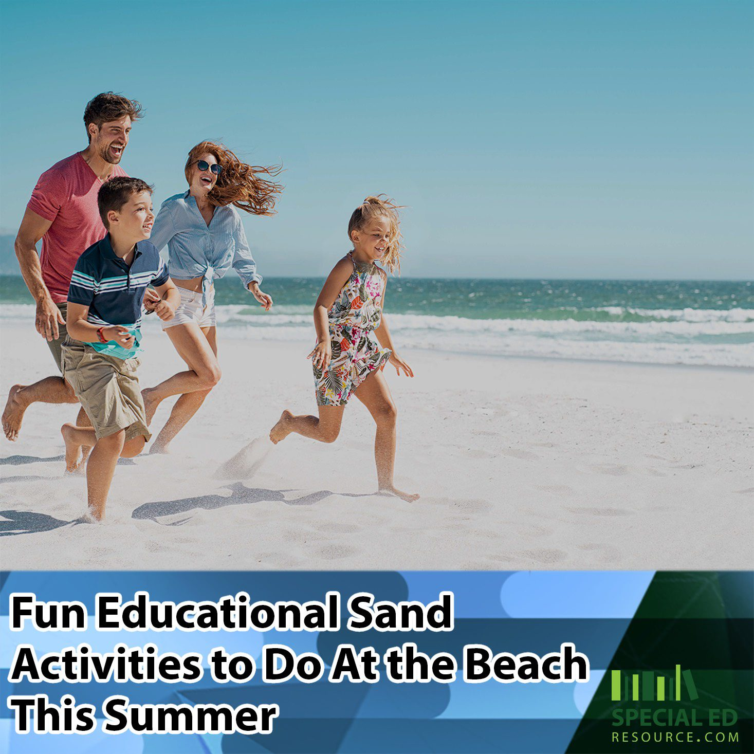 Family running on the beach looking for fun educational sand activities to do at the beach this summer.