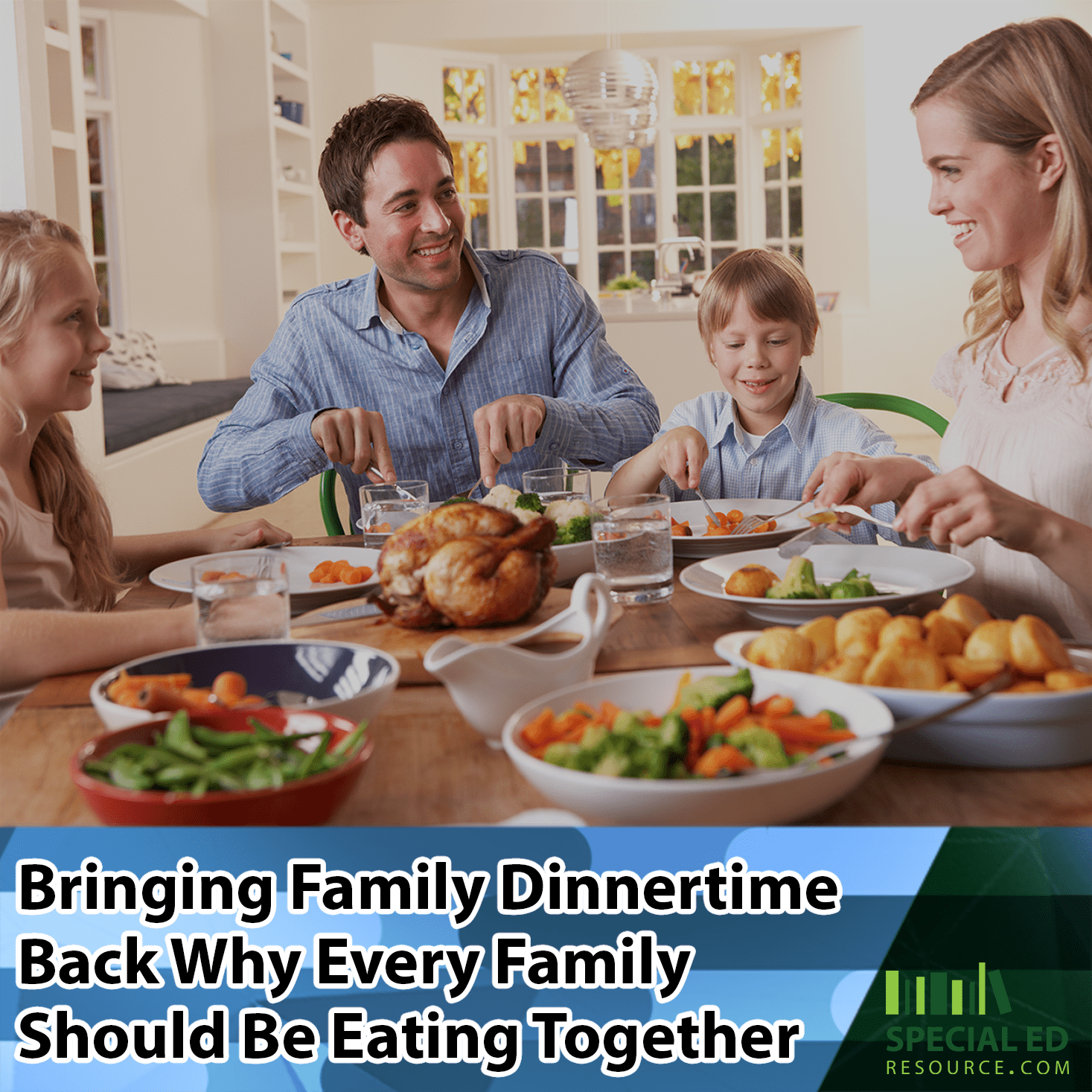 Family dinnertime with the whole family eating together and enjoying it!