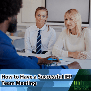 Mom and teenage daughter having a successful IEP team meeting at school.