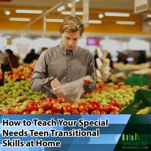 A special needs teenage boy picking out produce at the grocery store; one of a few transitional skills his parents are teaching him at home.