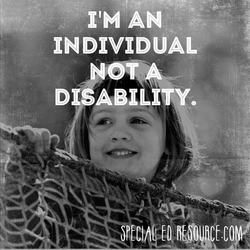 Disability Quotes I'm An Individual Not A Disability  Special Education Resource
