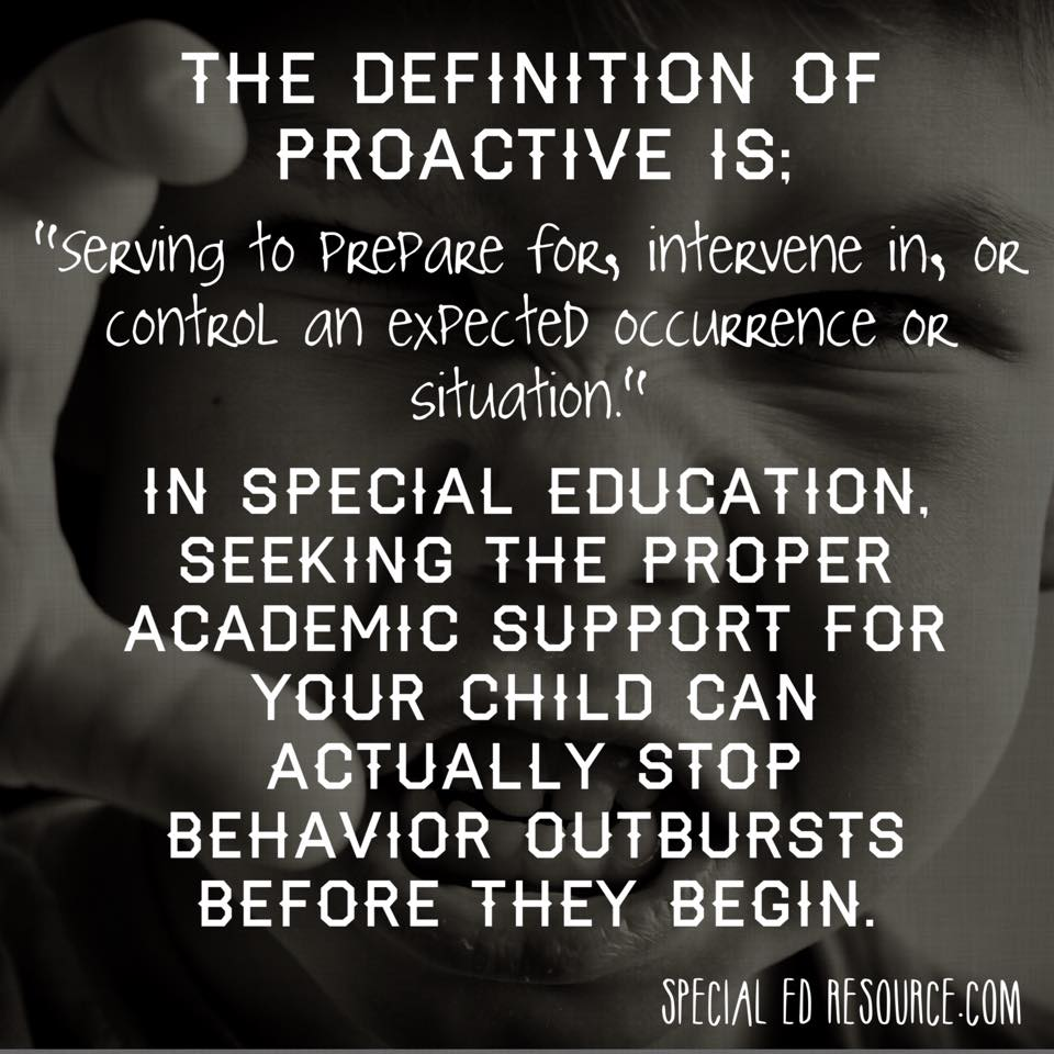 Be Proactive In Special Education