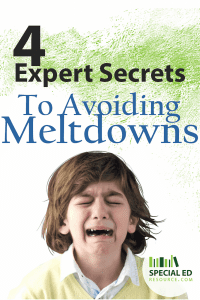 Young boy with brown hair having a temper tantrum with text overlay 4 Expert Secrets to Avoiding Meltdowns