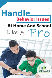 Dad helping son do homework with text overlay Handle Behavior Issues at Home and School Like a Pro