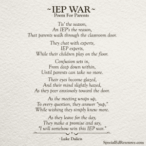 IEP War No Caption | A Poem For Parents