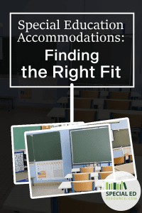 Multiple images of empty school classrooms with overlay text Special Education Accommodations Finding the Right Fit