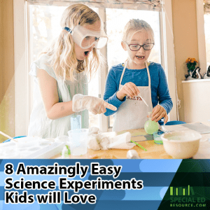 Two young girls having fun doing science experiments in the kitchen at home with text overlay 8 Amazingly Easy Science Experiments Kids Will Love