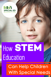 Young boy with brown hair and blue eyes smiling with text overlay How STEM Education Can Help Children With Special Needs