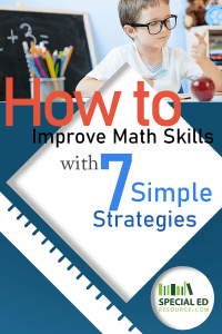 Young boy using his fingers to do math problems with text overlay How to Improve Math Skills with 7 Simple Strategies