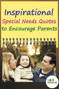 Mom and dad holding their little girl with text overlay Inspirational Special Needs Quotes to Encourage Parents