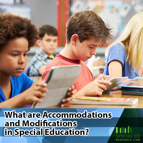 Classroom of students doing schoolwork at their desks with text overlay What are Accommodations and Modifications in Special Education?