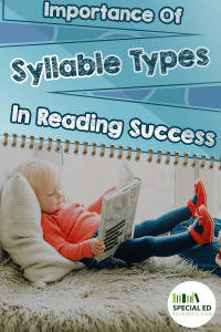 Young girl laying in the bed reading a book with text overlay Importance of Syllable Types in Reading Success
