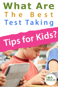 Children in a school classroom with text overlay What are the best test taking tips for kids