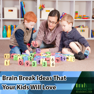 Mom with her two boys on the floor playing with blocks with text overlay Brain Break Ideas that Your Kid Will Love
