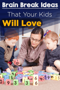 Mom with two sons playing with blocks on the floor with text overlay Brain Break Ideas That Your Kids Will Love