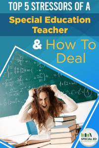 Teacher sitting at her desk full of work pulling her hair in overwhelm with text overlay Top 5 Stressors of a Special Education Teacher & How to Deal